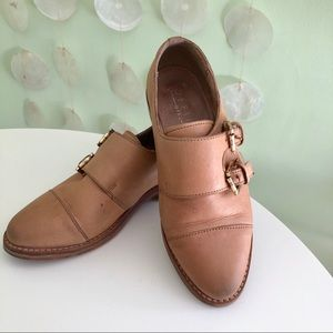 Office Girl Nubuck Leather Tan Nude Oxford Loafers